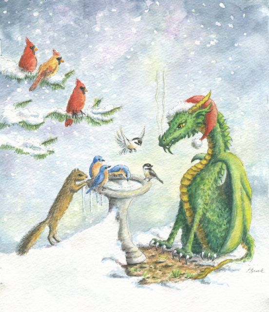 Holiday Friends Dragon - Birdbath Dragon