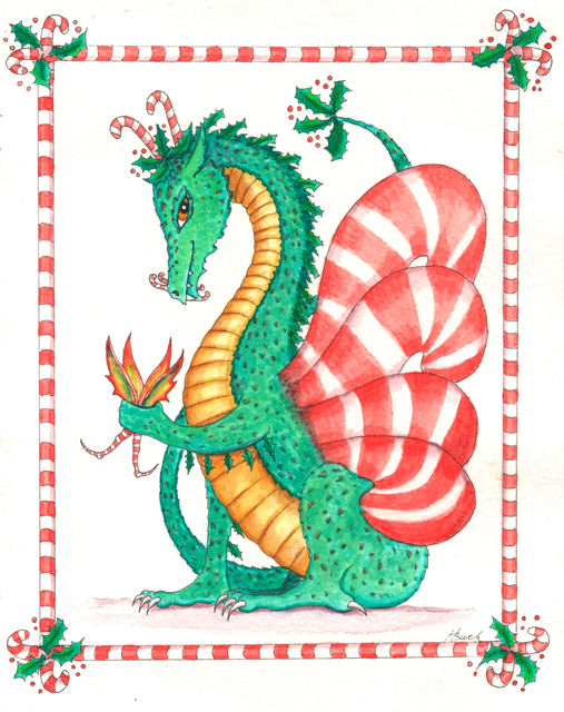 """Dragon art"" ""Christmas Dragon"" ""Candy cane"" dragon eating fairy"