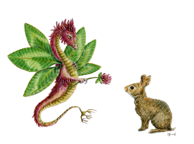 """Dragon art""""Flower Dragon"" A red clover dragon offers a clover flower to a brush bunny"