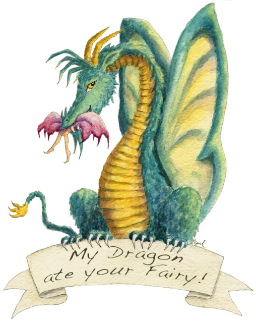 """Dragon art"" ""Fairy eating dragon"" ""Dragon eating fairy"" HBdragon Fairy dragon ""My dragon ate your fairy"""