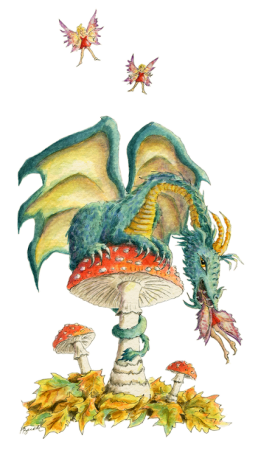 """Dragon art"" ""Fairy eating Dragon"" ""Mushroom Dragon"" A Fungi Dragon eats a Fairy"