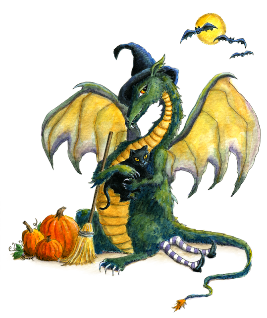 """Dragon art"" ""Halloween Dragon"" This Halloween dragon sits on the witch and has made a new friend with the black cat !"