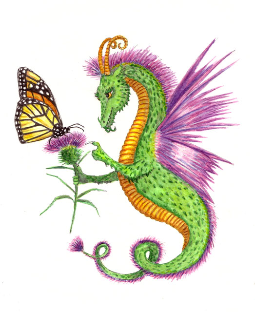 """Dragon art"" ""Flower Dragon"" ""Thistle dragon"" ""Monarch Butterfly"""