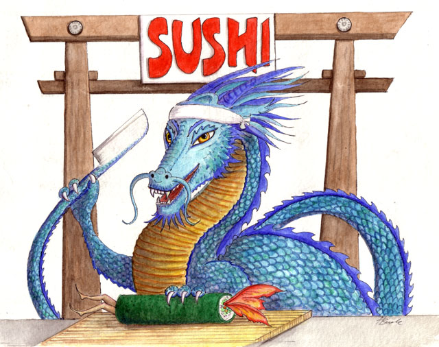 """Dragon art"" ""Sushi Dragon"" Sushi Fairy ""Fairy eating dragon"""