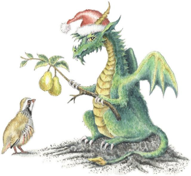 Partridge and pear tree Christmas Dragon