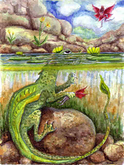 """Dragon art"" ""Water Dragon""""Fairy eating Dragon"" ""Heidi Buck""""Fairy eater"" ""Pond Dragon"""