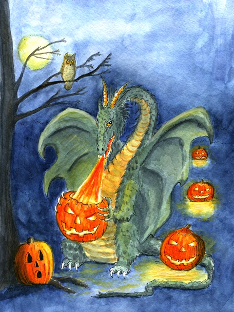 """Dragon art""""Halloween Dragon"" ""Jack o'Lantern lighter"" Ever wonder how Jack o'Lanterns are lit? This Halloween dragon lights the Jack o'Lanterns for Halloween!"