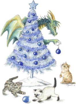 HBdragon blue Christmas kittens