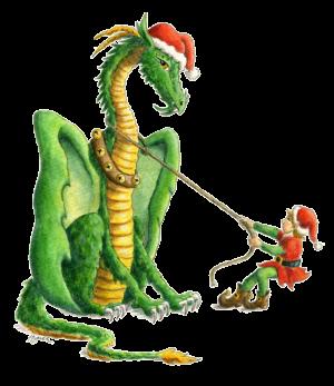 """""""Dragon art""""""""Christmas Dragon"""" """"Holiday Dragon"""" """"Heidi Buck""""An elf and a Christmas dragon"""