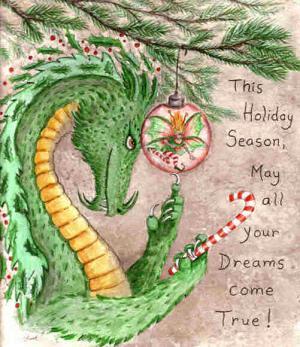 """""""Dragon art"""" """"Christmas Dragon"""" """"Holiday Dragon"""" """"Fairy eating dragon"""" """"Christmas fairy"""""""