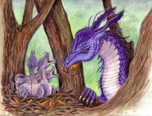 """Dragon art"" ""Fairy eating dragon"" ""Mama dragon"" ""baby dragons"""