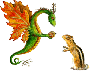 """Dragon art""""Flower Dragon"" ""Heidi Buck""An Oak Dragon hands an acorn 'gift' to a chipmunk. This fantasy watercolor Dragon is part of the Nature Dragon series."