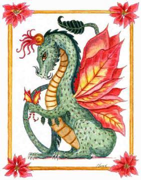 """Flower Dragon"" ""Christmas Dragon"" poinsettia dragon holding a ""Christmas Fairy"""