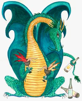 """Dragon Art""""Fairy eating Dragon"" ""Wine Dragon"" wine A Fairy eating dragon must choose between red or white..."