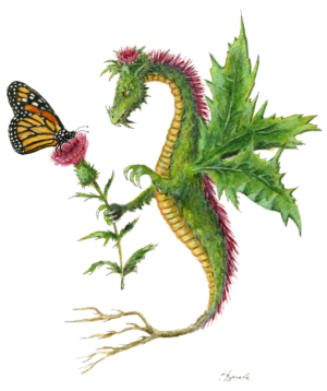 """Dragon art""""Flower Dragon"" A Thistle Dragon gives a Thistle flower to a Monarch Butterfly"