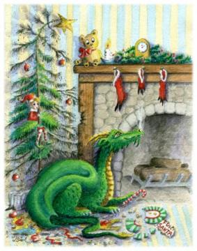 Waiting for Santa Christmas Dragon