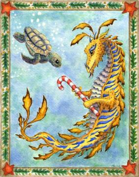 """Dragon art""""Christmas Dragon"" ""Sea Turtle Christmas"" ""Heidi Buck""A sea Dragon gives a gift to a Sea Turtle for Christmas"