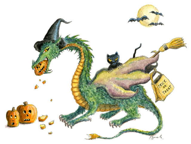 """Dragon art""""Halloween Dragon"" ""Trick or Treat"" This Halloween Dragon and black cat are up to Trick or Treats for Halloween"